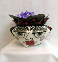 African Violet Flower Pot Picasso Style Face & Flowers Black, White, Red Ceramic 2 Piece Self Watering Functional Home Decor Planter on Etsy by artistsloftppaquin1 on Etsy