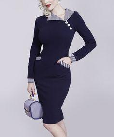 Love this Navy Stripe-Collar Bodycon Dress - Women & Plus on #zulily! #zulilyfinds