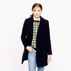 J.Crew - Stadium-cloth captain coat in charcoal.  Love the tailored look but this coat is too bulky to pack and would need to be carried...