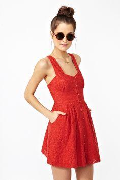 Red Crochet Button-down Dress