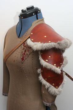 Single Leather and Rabbit Fur Pauldron/Spaulder by Versalla on DeviantArt