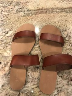 2176416f3367 J. Crew Women s 9 Brown Faux Leather Two Strap Flat Sandals Slides Shoes   fashion