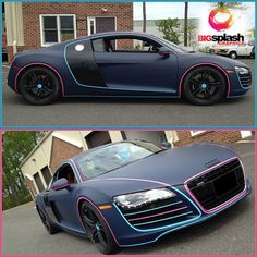 Here's a wild wrap on this Audi R8 by Big Splash Graphics. www.bigsplashgraphics.com Material used: 3M 1080 Matte Indigo wrap with Gloss Hot Pink and Sky Blue Accents