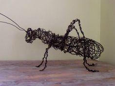 Sale Steel Grasshopper Sculpture by CharestStudios on Etsy, $45.00