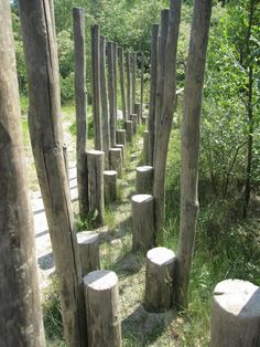 step stems with accompanying poles, – Natural Playground İdeas Natural Play Spaces, Outdoor Play Spaces, Kids Outdoor Play, Outdoor Fun, Outdoor Learning, Natural Playground, Playground Design, Backyard Playground, Sensory Garden