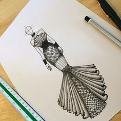 The drawing does not belong to me! Dress Design Drawing, Dress Design Sketches, Fashion Design Sketchbook, Fashion Design Drawings, Fashion Drawing Dresses, Fashion Illustration Dresses, Fashion Model Sketch, Fashion Sketches, Fashion Figure Templates