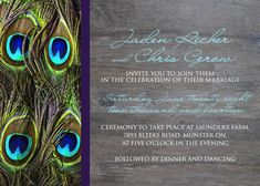 Peacock Feather Wedding Invitation Set  Brilliant by Idowithyou