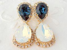 White opal and blue Chandelier earrings, blue and white, Bridal earrings, 14k Gold Dangle earrings, Drop earrings, Swarovski earrings
