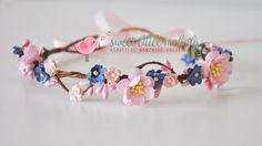 Pink Woodland Crown Navy Flower Crown Pink by SweetLittleMelody
