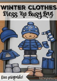 Clothes Dress Up Busy Bag Winter Clothes Dress Up Busy Bag {Free Printable} - fun to add to winter unit!Winter Clothes Dress Up Busy Bag {Free Printable} - fun to add to winter unit! Preschool Classroom, Preschool Learning, Classroom Activities, In Kindergarten, Toddler Activities, Learning Activities, Preschool Winter, Preschool Seasons, Color Activities
