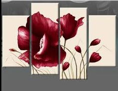 Hot Sale Hand Painted Red Flower Oil Painting On Canvas 4 Pcs Sets Abstract Home Modern Wall Art Decor For Living Room Oil Painting Flowers, Oil Painting On Canvas, Canvas Wall Art, Canvas Frame, Protea Flower, Flower Oil, Modern Artwork, Modern Wall Art, Cheap Paintings
