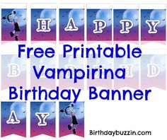 Looking for some ghoulish Vampirina party decorations for a Vampirina birthday party. Use this free printable Vampirina birthday banner to make décor that you can hang up to celebrate your little one's big day. The Vampirina birthday banner template features a design which includes a pink and purple night sky with a moon, and Lettering …