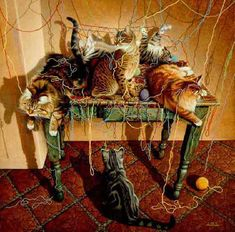 Naughty cats paintings. Table Manners - Braldt Bralds