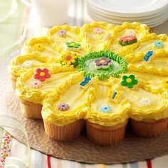 Sunny Flower Cake Recipe -I made this cake for my niece's 4th birthday party, and again for a baby shower. It was the hit of the party! —Debra Haraszkiewicz, Cement City, Michigan