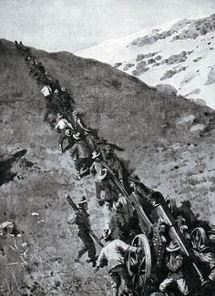 Boers hauling a heavy gun up a mountain at the Battle of Spion Kop on January 1900 in the Boer War British Army Uniform, British Soldier, D Day Normandy, World Conflicts, Native American Men, British Colonial, African History, Military History, World War Two