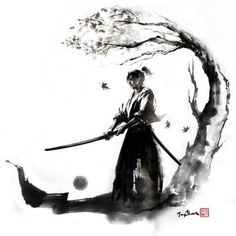 "By JungShan ""Autumn moon"" Let's go back to samurai series! I made these drawings to one of my tattoo freelance work. My client asked me for a samurai under the maple and holding a sword. I made 3 illustration to her to choose and she chose Autumn moon. Ronin Samurai, Samurai Warrior, Tattoo Samurai, Ronin Tattoo, Familie Symbol, Arte Ninja, Samurai Artwork, Samurai Drawing, Ink Illustrations"