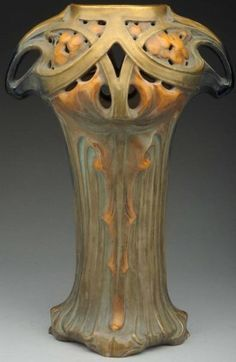 Amphora Pottery Vase, 13.5 in high, reticulated top and two handles in brown, cream, and gold glazes. Numbered on underside. Possibly Ernst Wahliss.
