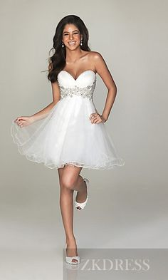 Fashion Sleeveless Short White A-Line Organza Prom Dress zkdress22847