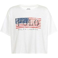 Polo Ralph Lauren Printed Cotton T-Shirt (1.076.510 IDR) ❤ liked on Polyvore featuring tops, t-shirts, short-sleeved, white, white t shirt, polo ralph lauren tees, polo ralph lauren, cotton t shirts and cotton tees