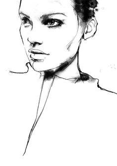 Fashion illustration - portrait drawing; fashion sketch // Svetlana Ihsanova