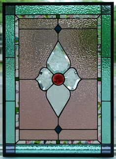 Stained Geometric Floral Panel Tiffany by DodgeGlassStudio on Etsy, $375.00