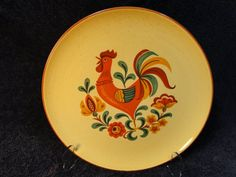 Taylor Smith Taylor Reveille Rooster Dinner Plate Yellow W/Red Trim    Perfect. Rooster PlatesRooster KitchenVintage ...