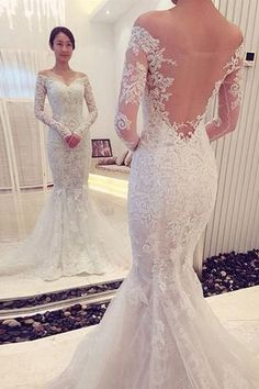 Charming Off The Shoulder Long Sleeves Lace Mermaid Wedding Dress-Pgmdress