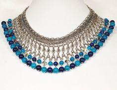 Egyptian Turquoise Blue Dangle Bib by EmbellishgirlVintage on Etsy