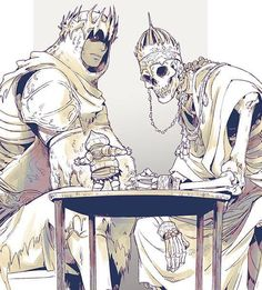 Yhorm introduces Siegward to his dad, Wolnir (that was a speculation). Not my art. Character Concept, Character Art, Concept Art, Character Design, Arte Dark Souls, Dark Souls 2, Ornstein Dark Souls, Dark Fantasy, Fantasy Art