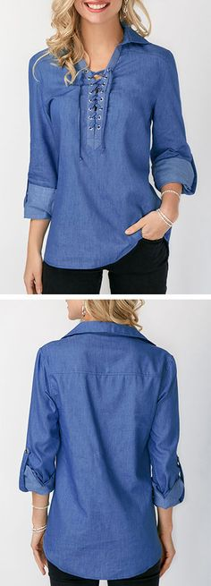 Lace Up Front Roll Tab Sleeve Blue Blouse