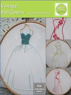 Embroidery Vintage Ball Gowns Pattern