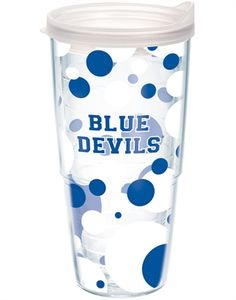 Duke Blue Devils Polka Dot Wrap (24oz) with Lid - 24oz tumbler