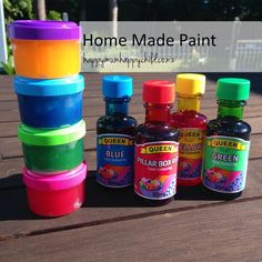 The Best Home Made Paint by Happy Mum Happy Child Toddler Fun, Toddler Activities, 4 Kids, My Children, Kids Homework, Blue And Green, How To Make Paint, Happy Kids, Drink Bottles