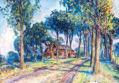 Johannes 'Johan' Dijkstra (Groningen 1896-1978) Boerderij aan een landweg - Kunsthandel Simonis en Buunk, Ede (Nederland).