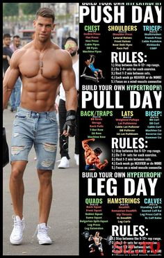 Push/Pull/Legs Weight Training Workout Schedule For 7 Days &; GymGuider Push/Pull/Legs Weight Training Workout Schedule For 7 Days &; GymGuider Rafael Dziubelski Body Push pull and legs is a […] workout schedule Push Pull Legs Routine, Push Pull Legs Workout, Leg Routine, Push Workout, Workout Splits, Full Body Workout Routine, Gym Workout Chart, Gym Workout Tips, Gym Workouts For Men