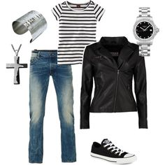 Casual black leather