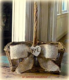 Flower Girl Basket Rustic Wedding Personalized Custom. $26.00, via Etsy.