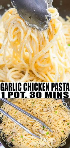 GARLIC CHICKEN PASTA RECIPE - Quick, easy weeknight meal that's made in just 30 minutes in 1 pot, using simple ingredients. It's creamy and packed with cheese and herbs. From OnePotRecipes.com #dinner #dinnerrecipes #onepot #onepan #30minutemeal #pasta #spaghetti #garlic #chicken #chickenrecipes #chickendinner #quickandeasy