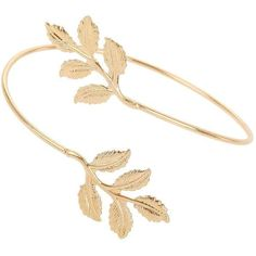 Miss Selfridge Leaf Wrap Arm Cuff (£8.86) ❤ liked on Polyvore featuring jewelry, bracelets, gold color, miss selfridge, leaf bangle, leaf jewelry, wrap jewelry and gold tone jewelry