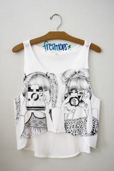 Suer cute best friend photographing shirt from Fresh-Tops! Crop Top Outfits, Cool Outfits, Summer Outfits, Girls Crop Tops, Cute Crop Tops, Tank Tops, Cute Fashion, Teen Fashion, Fashion Outfits