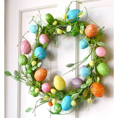 "20"" Bright Glittered Easter Egg Wreath"