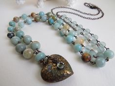 Puffed Heart Pendant, Amazonite Beaded Necklace, Rustic Boho Chic Long Beaded Necklace ~ by Hello Sweetie Handmade by HelloSweetieHandmade on Etsy