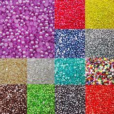 Venta 300 unid/lote 6 MM Medias Alrededor de Acrílico de Imitación perlas de Perlas Del Flatback para la Decoración Del Arte Del Clavo de La Joyería Del Teléfono