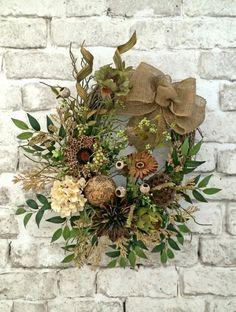 Neutral Summer Wreath for Door, Front Door Wreath, Outdoor Wreath,Burlap Wreath,Silk Floral Wreath, Grapevine Wreath, Fall Wreath, Giraffe Print Flower, by Adorabella Wreaths on Etsy!