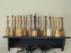 Collection of wooden mashers.