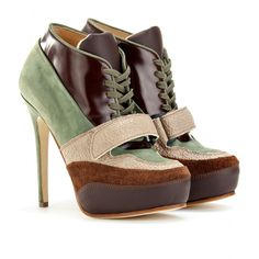 Ace Laceup Leather Booties in Brown
