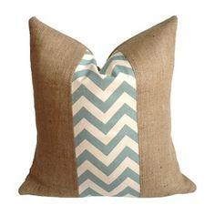 Love this pillow! Burlap and chevron in one!