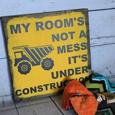 Construction sign, playroom, toddler room, wooden sign, yellow, little boy, kids decor, kids room sign, construction party, playtime
