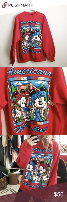 Vintage Mickey sweatshirt Vintage Americana Mickey sweatshirt. So cute! Best fits large. But cute on smaller sizes as well. Excellent gently used condition. Tops Sweatshirts & Hoodies