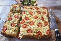 Courgette, cheese and cherry tomato pie - Recipes - Eat Well (formerly Bite) Cherry Tomato Pie, Cherry Tomatoes, Recipe Form, Vegetarian Recipes, Cooking Recipes, Cooking Ideas, Side Recipes, Meal Planner, Fritters